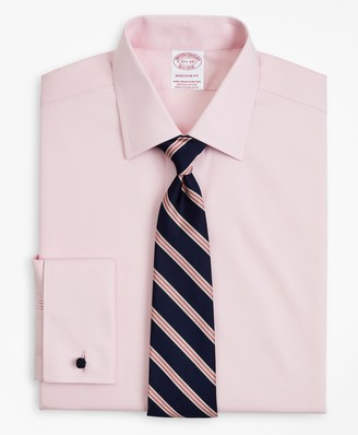 Brooks Brothers Stretch Madison Classic-Fit Dress Shirt, Non-Iron Pinpoint Ainsley Collar French Cuff