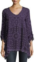 Johnny Was Jossimar Embroidered Flowy Georgette Tunic, Plus Size