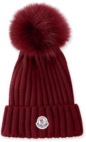 Moncler Ribbed-Knit Beanie Hat w/Fur Pompom