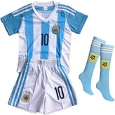 Wild Bunch New Argentina Home Messi Soccer Football Jersey Sportswear Team Polo Shirt & Short & Sock for 3-14 Years Kids