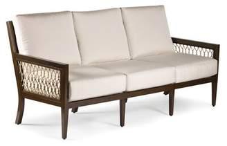 Eddie Bauer Echo Bay Patio Sofa with Sunbrella Cushions Frame Color: Mahogany, Cushion Color: Cast Slate