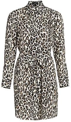 Theory Leopard Print Silk Shirtdress