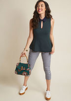 WT21295A Your reputation for wowing in the workplace isn't unfounded - it's looks like this pine green tank top that sustain your stylish status! Spiffed up with a navy collar, a hook-and-eye keyhole, and a peplum waistline, this ModCloth-exclusive blouse is brimm