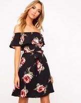 PrettyLittleThing Floral Bardot Swing Dress