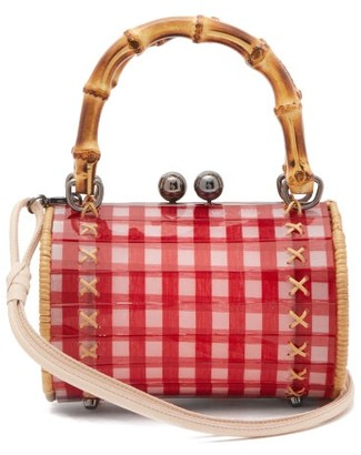 Wai Wai - Alix Gingham Bamboo-handle Bag - Womens - Red Multi