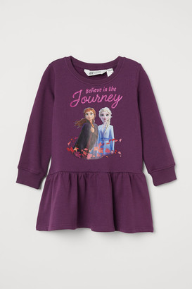 H&M Printed Sweatshirt Dress - Purple