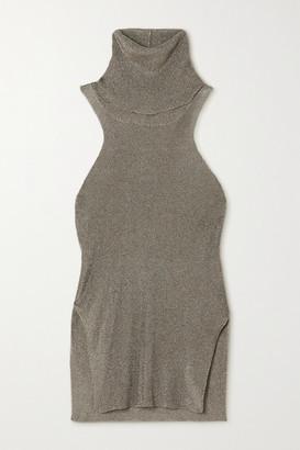Thierry Mugler Metallic Knitted Turtleneck Top - Bronze