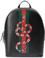 Gucci Web & Snake Leather Backpack, Black