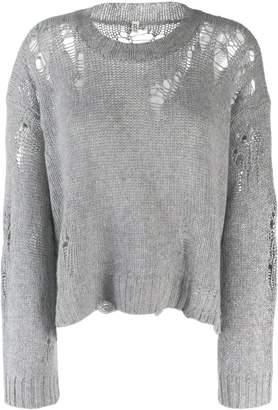 R 13 distressed knit jumper