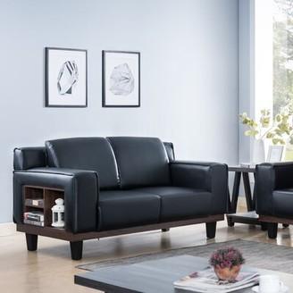 "Ebern Designs Apfel 59"" Wide Square Arm Loveseat Fabric: Black Microfiber/Microsuede"