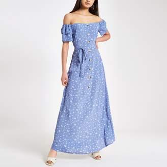 River Island Womens Blue print button bardot maxi dress