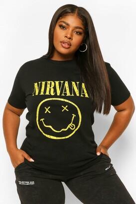 boohoo Plus Nirvana Smiley Oversized T-shirt