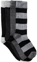 Lucky Brand Rib & Stripe Crew Socks - Pack of 4