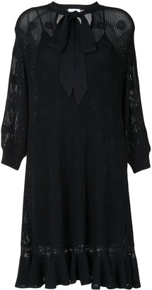 Chloé Tie-Front Long-Sleeve Dress