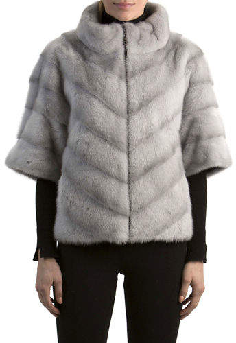 Gorski Chevron Mink Fur Topper Jacket
