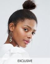 Monki Large Heart Hoop Earrings