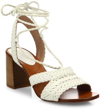 Michael Kors Lawson Ankle-Wrap Woven Leather Sandals