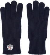 Moncler Navy Knit Gloves