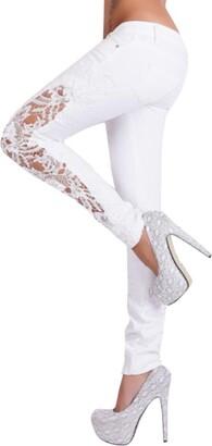 TIFIY Women Fashion Casual Flower Lace Hollow Out Low Waist Jeans Long Pants Trousers Leggings (XL