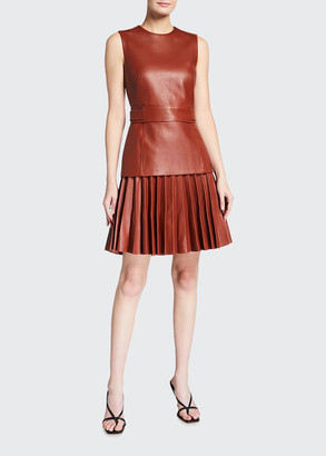 Oscar de la Renta Leather Pleated Sleeveless Day Dress