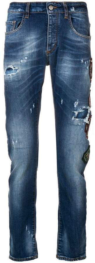 Frankie Morello patchwork distressed jeans