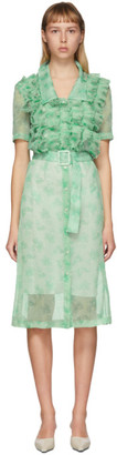 Commission SSENSE Exclusive Green Ruffle Shirt Dress