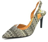 J. Renee Lacee Women W Pointed Toe Canvas Multi Color Slingback Heel.