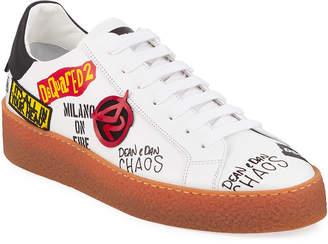 DSQUARED2 Men's Graffiti Low-Top Leather Sneakers