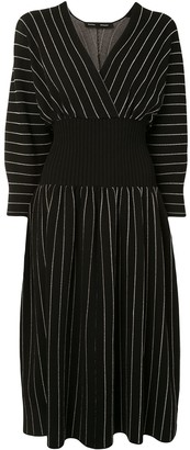 Proenza Schouler knitted pinstriped V-neck midi dress