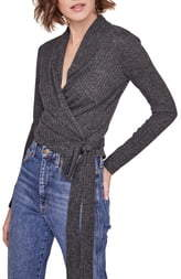 ASTR the Label Celeste Side Tie Crop Wrap Sweater