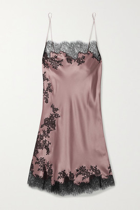 Carine Gilson Chantilly Lace-trimmed Silk-satin Chemise - Antique rose