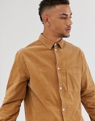 Weekday Wise cord shirt in tan