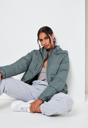 Missguided Petite Grey Hooded Puffer Jacket