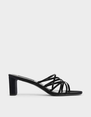 Charles & Keith Snake Print Strappy Blade Heel Mules