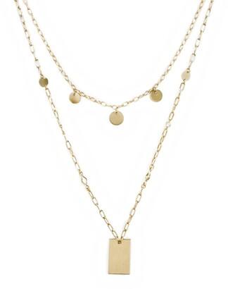 Ettika Disc & Tag Layered Chain Necklace