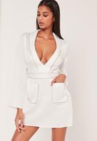 Missguided Silky Plunge Pocket Detail Shirt Dress White
