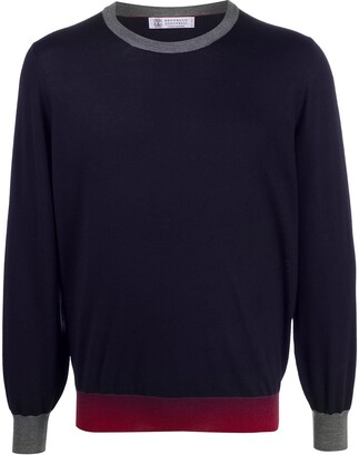 Brunello Cucinelli Long Sleeve Contrast Hem Sweater
