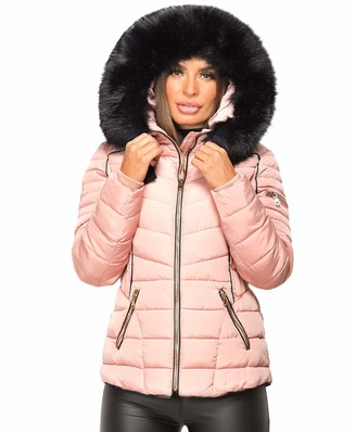 Wulux Ladies Womens Quilted Puffer Bubble Padded Faux Fur Collar Trimmed Hooded Winter Belted Piping Warm Thick Parka Zip Jacket Coat Pink UK Size M/10