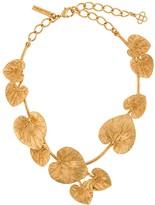 Oscar de la Renta eucalyptus leaf detail necklace