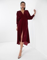 Asos Edition EDITION ruched batwing dress in velvet