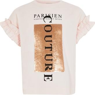 River Island Girls Pink sequin frill sleeve T-shirt