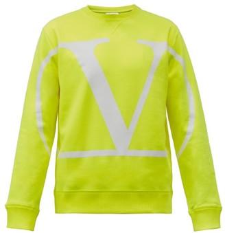 Valentino V-logo Cotton-blend Jersey Sweatshirt - Yellow