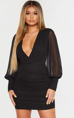 PrettyLittleThing Black Long Sleeve Chiffon Ruched Bodycon Dress