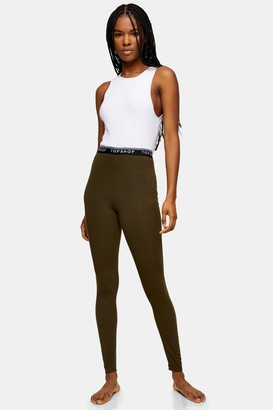 Topshop Womens Khaki Branded Elastic Leggings - Khaki