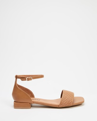 Betsy - Women's Brown Flat Sandals - Ankle Strap Sandals - Size 38 at The Iconic