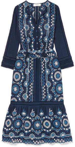 Sea Sofia Broderie Anglaise Cotton Midi Dress - Blue