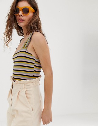 Wild Honey body in vintage stripe with frill straps