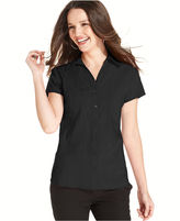 Style&Co. Petite Top, Short-Sleeve Seamed Button-Down Shirt