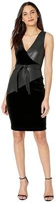 BCBGMAXAZRIA V-Neck Knit Tank Dress (Black) Women's Clothing