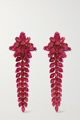 Bina Goenka 18-karat Gold Ruby Earrings - Red